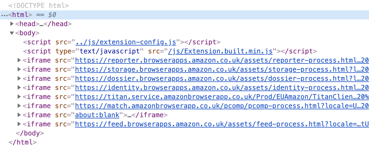 DevTools Elements tab for Amazon Assistent background page showing multiple iframes