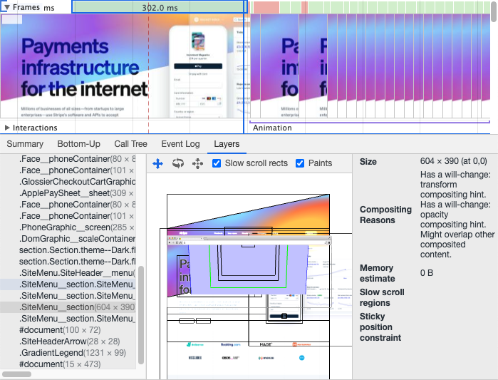 Layers visualization in Chrome DevTools