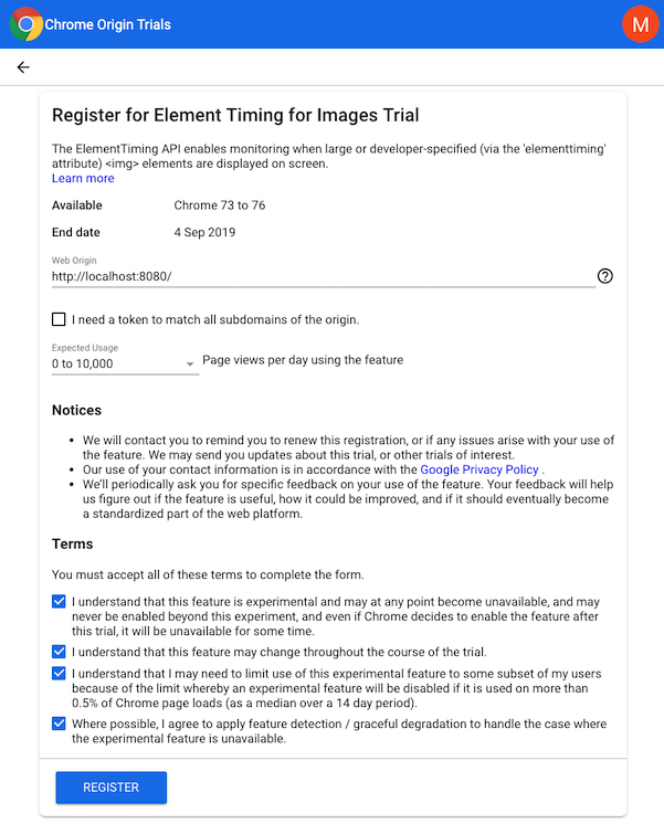 Signup form for the element timing api origin trial