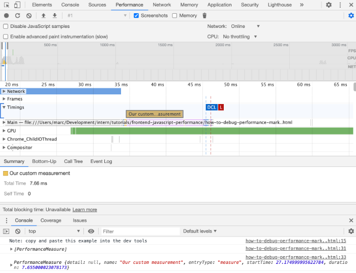 User timings in Chrome DevTools