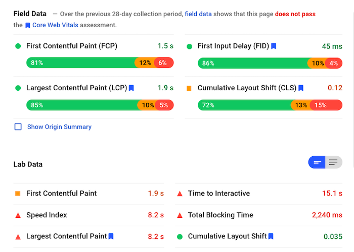 Lab-based performance tests often give different results from data that's collected from real users. This article explains the differences between the