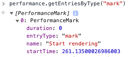 Example of the created user timing mark in the console