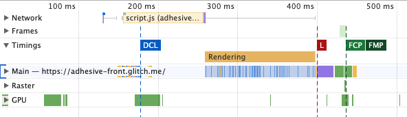 Screenshot showing user timings in the the Performance tab of Chrome DevTools