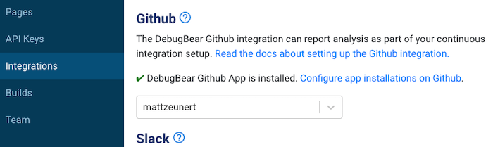 Message showing DebugBear Github app has been installed